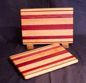 "Cheese Board 16 - 004. Edge Grain. Hard Maple & Purpleheart. 8"" x 11"" x 3/4""."
