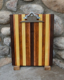 "Clipboard 16 - 004. Black Walnut, Jatoba, Cherry & Yellowheart. Letter size. 1"" capacity clip."