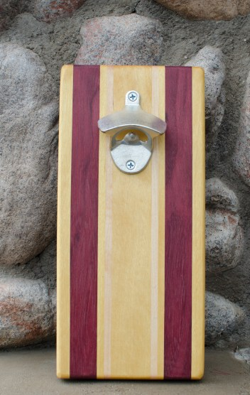 "Magic Bottle Opener 16 - 02. Yellowheart, Purpleheart & Hard Maple. Approximately 5"" x 10"" x 3/4""."