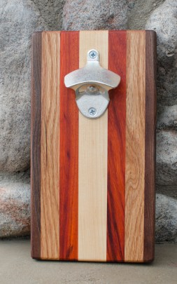 "Magic Bottle Opener 16 - 04. Black Walnut, Red Oak, Padauk & Hard Maple. Approximately 5"" x 10"" x 3/4""."