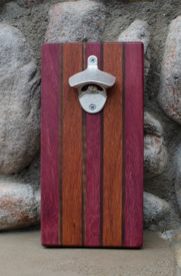 "Magic Bottle Opener 16 - 09. Purpleheart, Black Walnut & Jatoba. Approximately 5"" x 10"" x 3/4""."