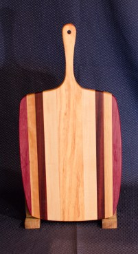 """Sous Chef 16 - 001. Purpleheart, Cherry, Black Walnut & Honey Locust. 11"""" x 14"""" work area w/6"""" handle. Sold in its first showing."""