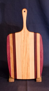 "Sous Chef 16 - 001. Purpleheart, Cherry, Black Walnut & Honey Locust. 11"" x 14"" work area w/6"" handle. Sold in its first showing."