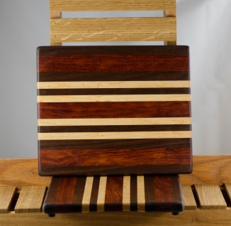 "Cheese Board 16 - 013. Black Walnut, Bubinga & Birds Eye Maple. 8"" x 11"" x 3/4"". First piece I've made using Bubinga."