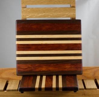 "Cheese Board 16 - 013. Black Walnut, Bubinga & Birds Eye Maple. 8"" x 11"" x 3/4"". First piece I've made using Bubinga."