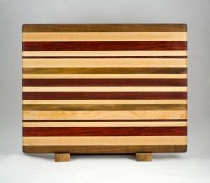 "Cutting Board 16 - Edge 009. Black Walnut, Hard Maple, Padauk & Bloodwood. Edge grain. 13"" x 17"" x 1-1/4""."