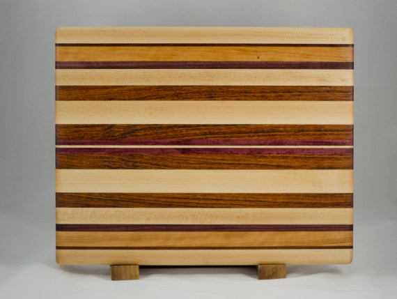 "Cutting Board 16 - Edge 013. Hard Maple, Black Walnut, Cherry, Jatoba & Purpleheart. Edge grain. 14"" x 18"" x 1-1/4""."