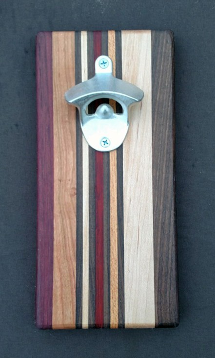 Magic Bottle Opener 16 - 024. Chaos Board. Purpleheart, Cherry, Black Walnut, Hard Maple, Bloodwood & Honey Locust.