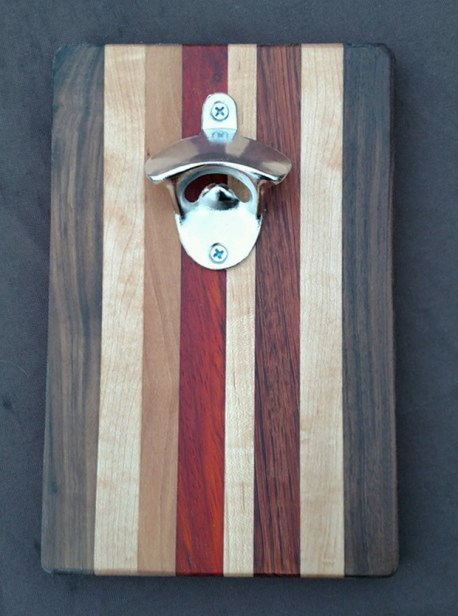 Magic Bottle Opener 16 - 031. Chaos Board. Black Walnut, Hard Maple, Cherry, Padauk & Jatoba.