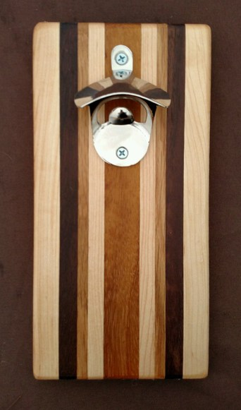 Magic Bottle Opener 16 - 037. Hard Maple, Black Walnut & Teak.