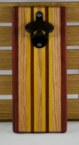 Magic Bottle Opener 16 - 049. Padauk, Yellowheart & Red Oak.