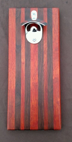 Magic Bottle Opener 16 - 057. Bloodwood & Black Walnut. Double Magic for refrigerator mount.