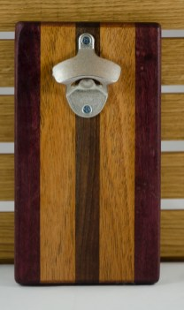 Magic Bottle Opener 16 - 067. Double Magic. Purpleheart, Mahogany & Black Walnut.