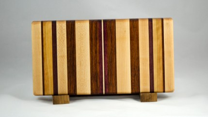 "Small Board 16 - 009. Hard Maple, Black Walnut, Cherry, Jatoba & Purpleheart. Edge grain. 7"" x 14"" x 1-1/4""."