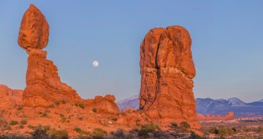 Moonrise over Balanced Rock in Utah's Arches National Park. Tweeted by the US Department of the Interior, 4/12/16.
