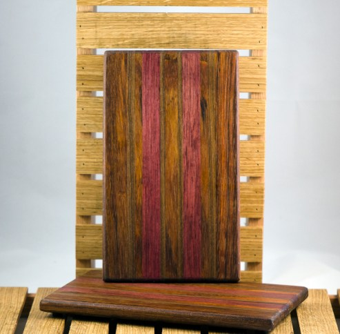 "Cheese Board 16 - 019. Jatoba, Purpleheart & Black Walnut. 7"" x 11"" x 3/4""."