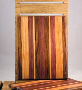 """Cheese Board 16 - 023. Jatoba, Cherry & Bubinga. 8"""" x 11"""" x 3/4""""."""