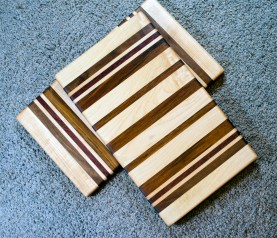 "Cheese Board 16 - 026. Hard Maple, Black Walnut, Purpleheart & Jatoba. 8"" x 14"" x 3/4""."