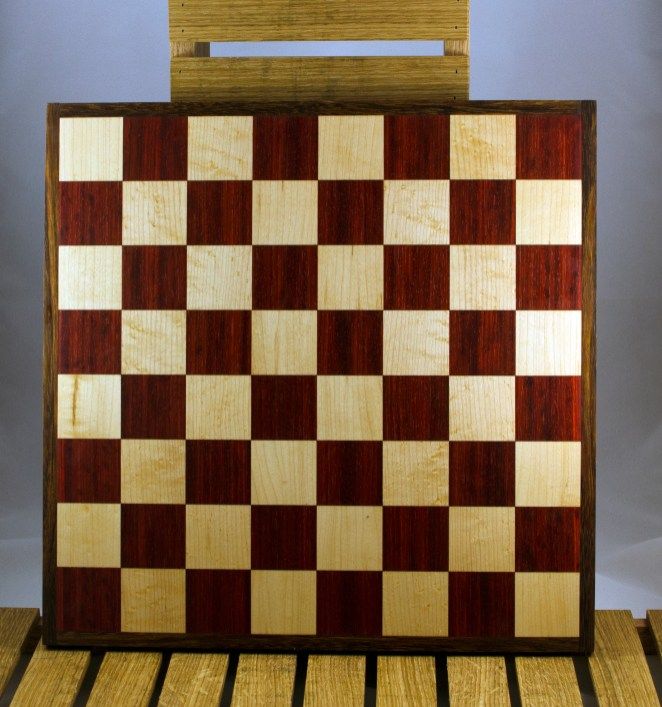 "Chess 16 - 05. Padauk & Hard Maple playing surface framed in Black Walnut. Squares are 2-1/8"" across."