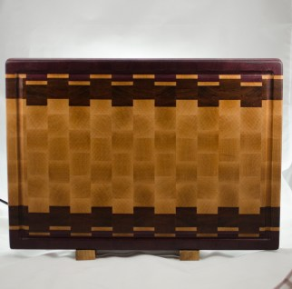 "End Grain 16 - End 030. Purpleheart, Hard Maple & Jatoba. End Grain, Juice Groove. 14"" x 20"" x 1-1/2"". $250."