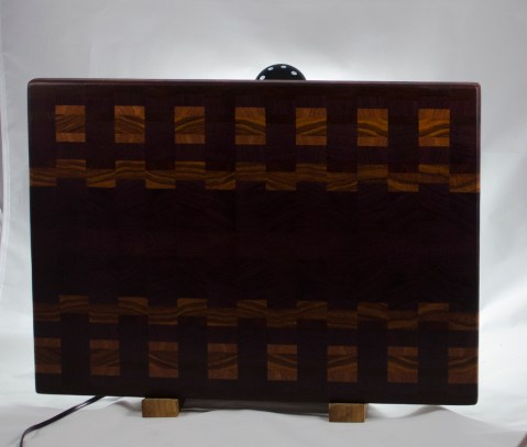 "Cutting Board 16 - End - 031. Purpleheart, Canarywood, Cherry & Bloodwood. End Grain. 15"" x 20"" x 1-1/4"". $240."