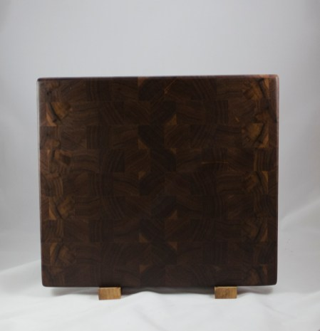 "Cutting Board 16 - End 036. Black Walnut, End Grain. 14"" x 16"" x 1-1/8"". $150."