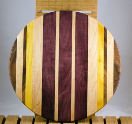 "Lazy Susan 16 - 015. Black Walnut, Hard Maple, Yellowheart & Purpleheart. 17"" diameter."
