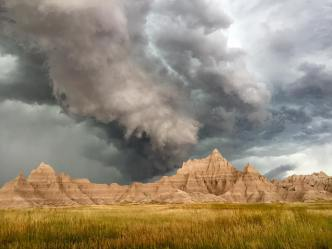 Ominous clouds over Badlands National Park. Posted on Tumblr by the US Department of the Interior, 7/19/16.