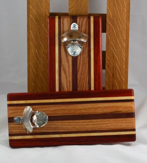 Magic Bottle Opener 16 - 088. Padauk, Hard Maple, Bubinga & Red Oak. Wall mount.