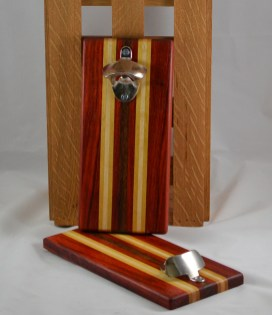Magic Bottle Opener 16 - 092. Padauk, Yellowheart, Hard Maple & Bubinga. Wall mount.