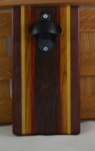 Magic Bottle Opener 16 - 099. Purpleheart, Yellowheart, Canarywood, Padauk & Black Walnut. Double Magic = Refrigerator or Wall Mount.