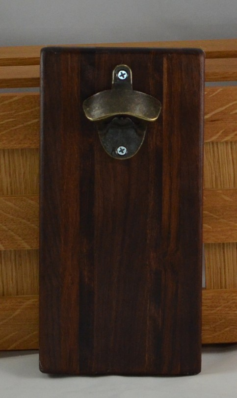 Magic Bottle Opener 16 - 102. Black Walnut, Jatoba & Caribbean Rosewood. Double Magic = Refrigerator or Wall Mount.