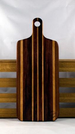 "Bread Board 16 - 08. Jatoba, Cherry & Bubinga. 8"" x 20"" x 7/8""."