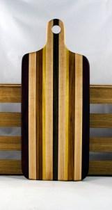 "Bread Board 16 - 09. Hard Maple, Black Walnut, Canarywood & Yellowheart. 8"" x 20"" x 7/8""."