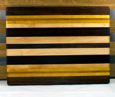 "Cheese Board 16 - 032. Black Walnut, Yellowheart, Cherry, Hard Maple & Jatoba. 12"" x 10"" x 3/4""."