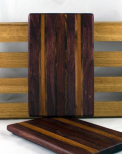 "Cheese Board 16 - 048. Purpleheart, Caribbean Rosewood, Jatoba & Black Walnut. 7"" x 11"" x 3/4""."