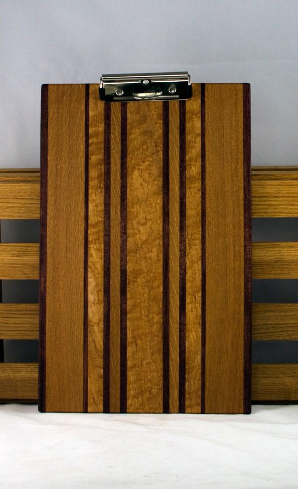 """Clipboard 16 - 017. Purpleheart, White Oak & Birds Eye Maple. Legal Size, 1/2"""" clip. Commissioned Piece."""
