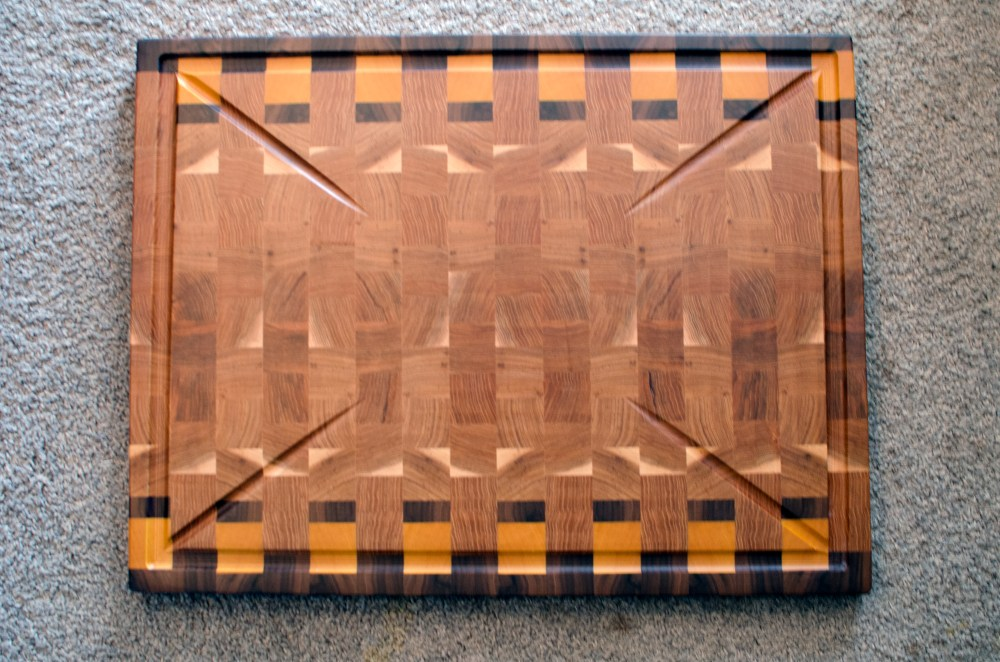 "Cutting Board 16 - End 038. Black Walnut, Yellowheart & Hickory. End Grain, Large Custom Juice Groove. 20"" x 26"" x 1-1/2"". Commissioned Piece."