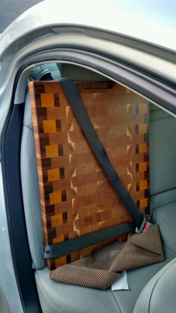 Safety first! Here's the board (and non-skid mat) on its way to its new home.