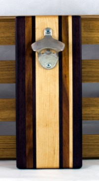 "Magic Bottle Opener 16 - 105. Single Magic. Purpleheart, Canarywood & Hard Maple.. 5"" x 10"" x 3/4""."