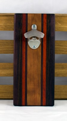 "Magic Bottle Opener 16 - 115. Double Magic. Purpleheart, Padauk & Cherry. 5"" x 11"" x 3/4""."