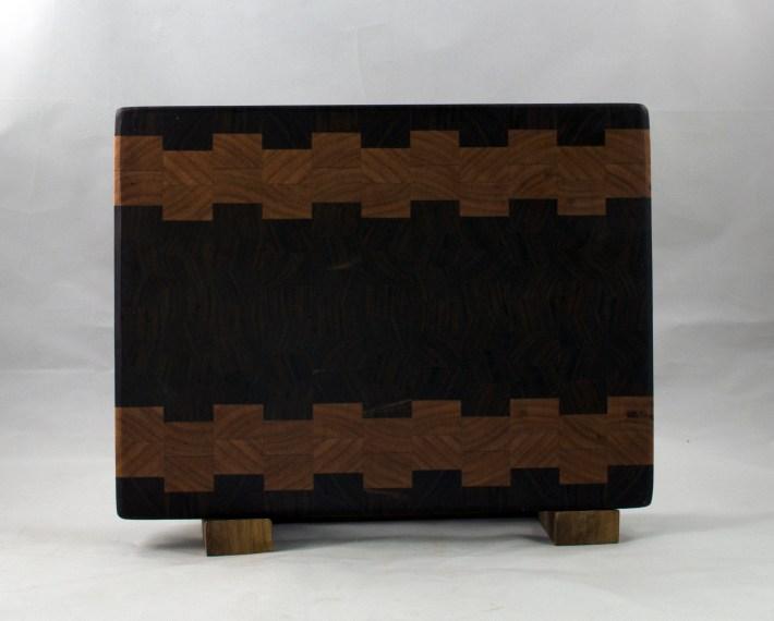 "Small Board 16 - 020. Black Walnut & Cherry. End Grain. 9"" x 12"" x 1""."