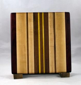 "Small Board 16 - 022. Black Walnut, Jatoba, Yellowheart & Hard Maple. 10"" x 10"" x 7/8""."