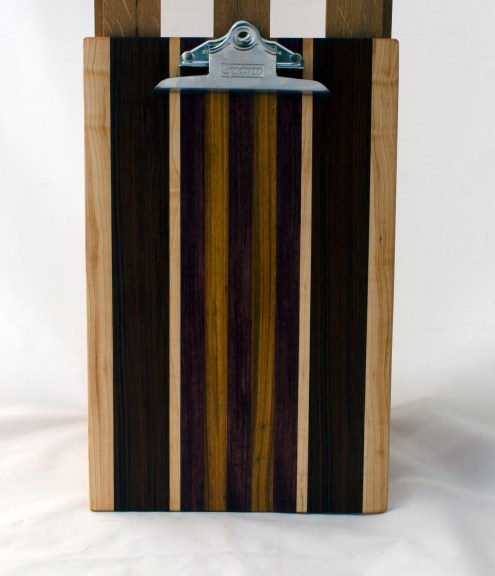 "Clipboard 16 - 026. Hard Maple, Canarywood, Purpleheart & Jatoba. Legal size. 1"" clip."