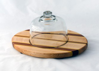 Domed Cheese & Cracker Server 16 - 02. Hard Maple, Yellowheart & Jatoba. Footed.