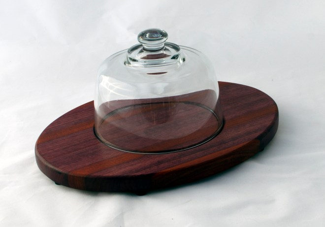 Domed Cheese & Cracker Server 16 - 04. Purpleheart & Bloodwood. Footed.