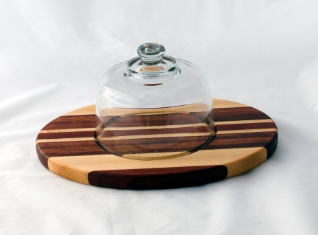 Domed Cheese & Cracker Server 16 - 06. Padauk, Hard Maple & Bubinga. Made for 2-sided use, but feet could be added.