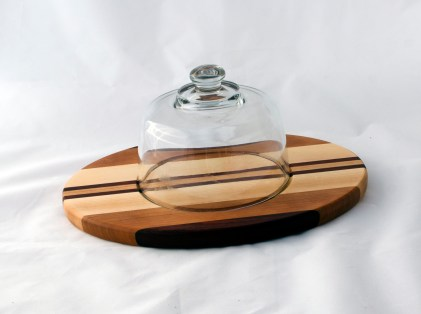 Domed Cheese & Cracker Server 16 - 11. Black Walnut, Cherry & Hard Maple. Made for 2-sided use, but feet could be added.