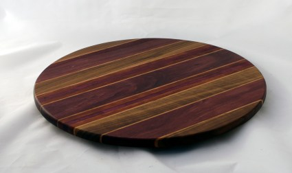 "Lazy Susan 16 - 024. Black Walnut, Purpleheart, Cherry & Bloodwood. 17"" diameter."