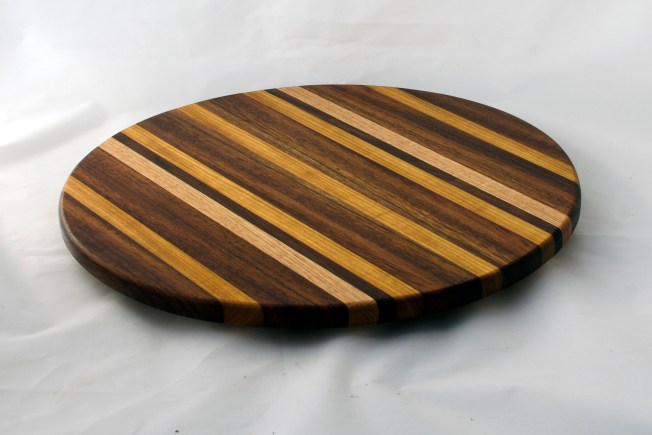 "Lazy Susan 16 - 025. Black Walnut, Canarywood & Hard Maple. 17"" diameter."